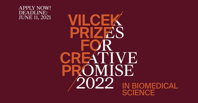 Apply now for a 2022 Vilcek Prize for Creative Promise in Biomedical Science. Applications will be accepted through June 11, 2021.