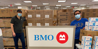 BMO employees preparing to ship personal protective equipment (PPE) to Inuit Nunangat (CNW Group/BMO Financial Group)