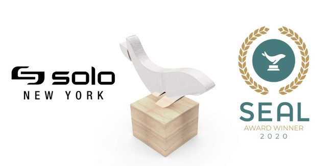 """Solo was awarded the SEAL """"Environmental Initiative Award"""" for its Re:cycled Collection of bags made from respun ocean-bound plastic, as well as for additional sustainability programs across the company."""