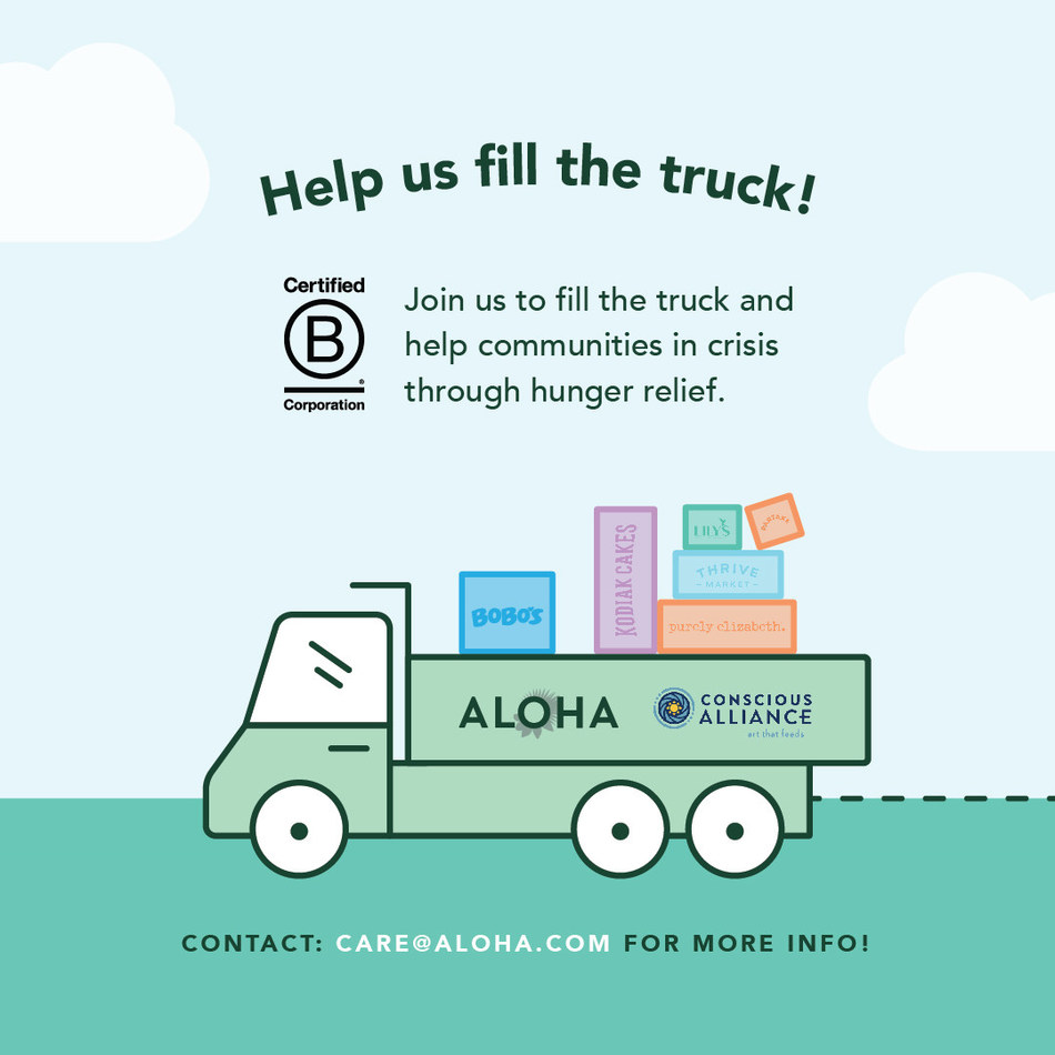 To kick off B Corp Month and commemorate the certification, ALOHA is teaming up with Conscious Alliance, a national nonprofit committed to supporting communities in crisis through hunger relief and youth empowerment.