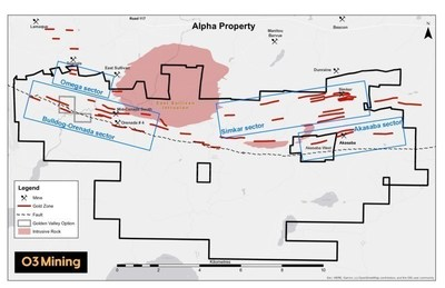 Figure 1: Alpha Property Map (CNW Group/O3 Mining Inc.)