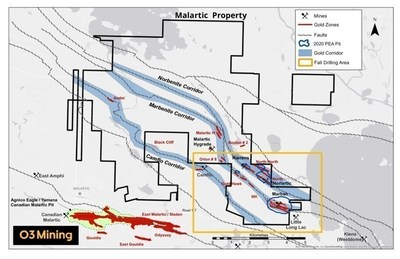Figure 2: Malartic Map (CNW Group/O3 Mining Inc.)