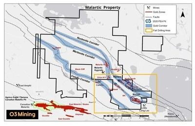 Carte de la propriété Malartic (Groupe CNW/O3 Mining Inc.)