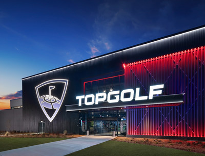 The Topgolf Fort Myers design will be similar to the Topgolf Rogers venue featured in the photo.