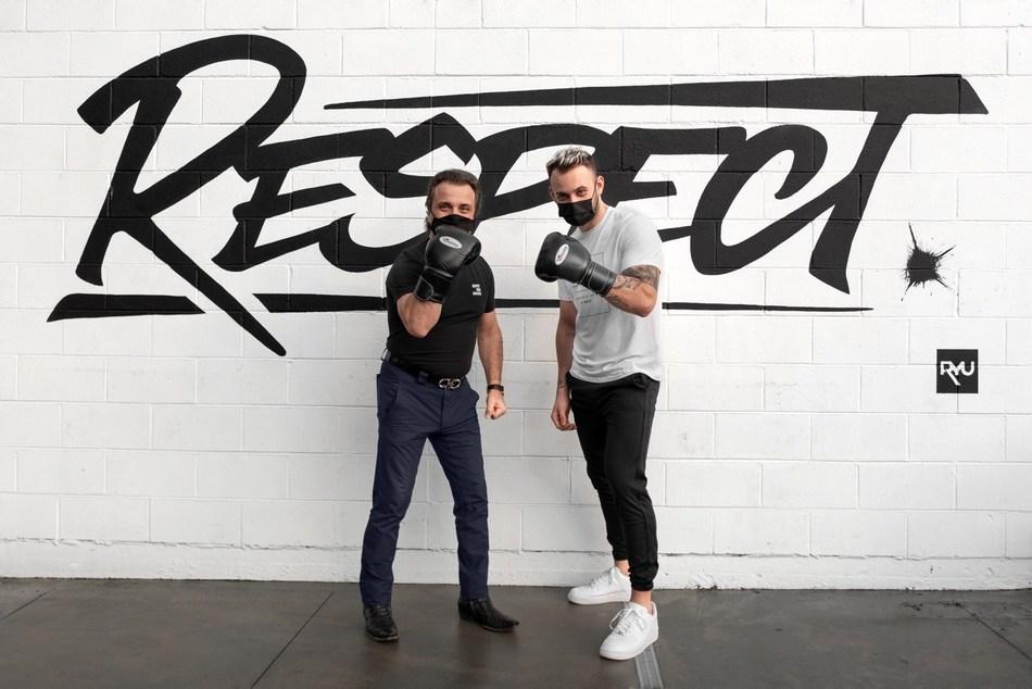 RYU CEO Cesare Fazari and boxer Dima Sumchenko (CNW Group/RYU Apparel Inc.)