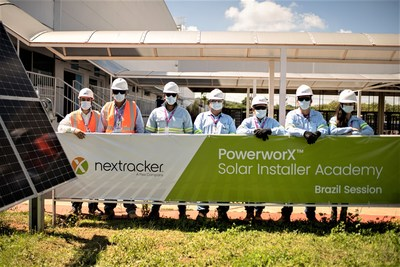 PowerworX Graduating Class of 2021, Brazil EPC Andrade Gutierrez attends Nextracker's solar installer training. Sorocaba, Sao Paulo, Brazil. Feb. 2021.
