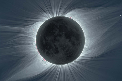The solar corona viewed in white light during the total solar eclipse on Aug. 21, 2017 from Mitchell, Oregon. The moon blocks out the central part of the Sun, allowing the tenuous outer regions to be seen in full detail. Image courtesy of Benjamin Boe/AAS.