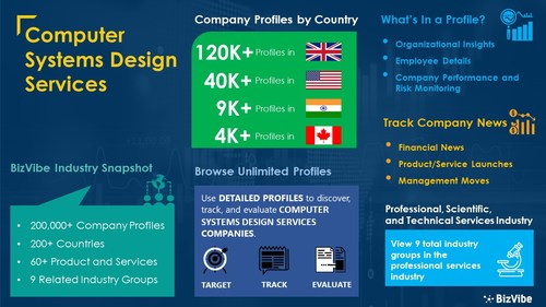 Snapshot of BizVibe's computer systems design services industry group and product categories.