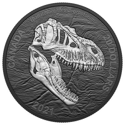 """Moeda de ródio preto da Royal Canadian Mint apresenta o """"Reaper of Death"""" (CNW Group/Royal Canadian Mint)"""