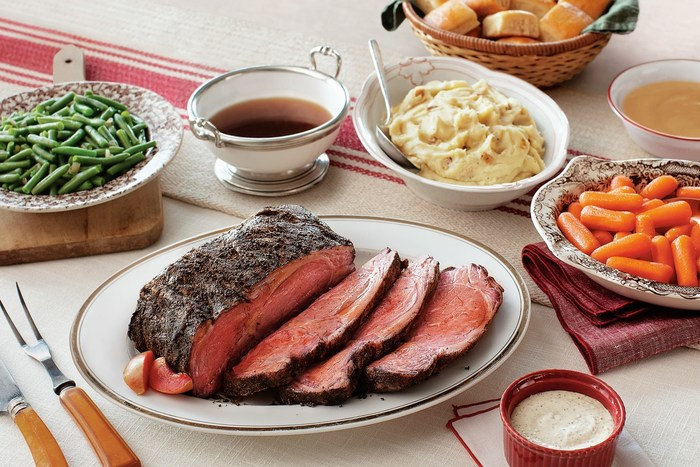 Cracker Barrel's Prime Rib Heat n' Serve Family Dinner is a new homestyle tradition that serves 4-6 people and can be prepared in around three hours. Order yours today at crackerbarrel.com.