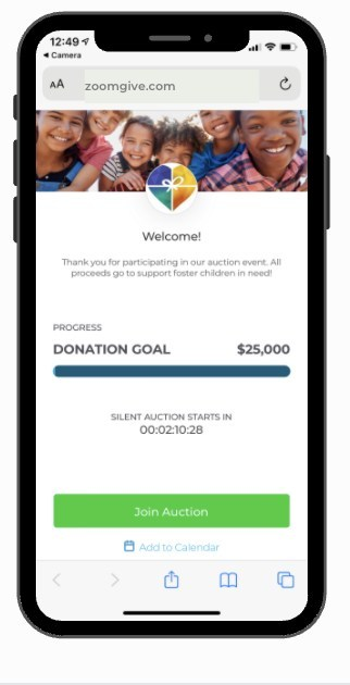 ZOOMGIVE Virtual Auction - Mobile View