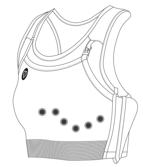 CardioBra is a two-part system, uniquely designed to work with CLARAVUEⓇ electrodes by Nissha Medical Technologies. CardioBra used with CLARAVUEⓇ reinforces electrode adherence and promotes ECG lead placement under the breast with added support. CLARAVUEⓇ's low-profile pre-wired design eliminates the pinch clips allowing for a comfortable fit.