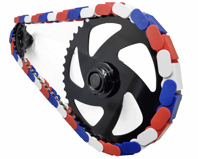 Red, white, and blue customized bicycle chain.