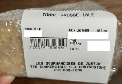 Tomme grosse Isle (Groupe CNW/Ministère de l'Agriculture, des Pêcheries et de l'Alimentation)