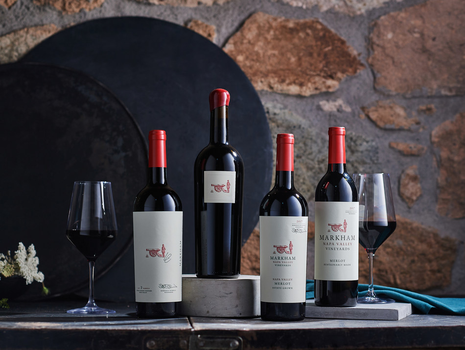 """Markham Napa Valley Vineyards crowns its updated portfolio of wines with iconic Merlot-based blend """"The Character"""" (center) The new portfolio packaging reflects the winery's estate and sustainability focus."""