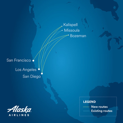 Alaska's new and existing service between California and Montana.