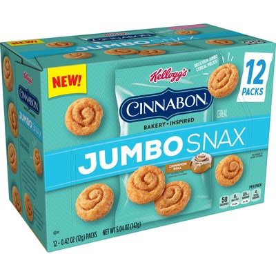 In honor of National Snack Day, Kellogg's® Jumbo Snax is launching new Kellogg's Cinnabon® Bakery Inspired Jumbo Snax, giving fans the classic, beloved Cinnabon® taste while at home or on the go. The latest addition joins the Kellogg's Jumbo Snax lineup that includes newly announced Kellogg's SMORZ™, Kellogg's Froot Loops®, Apple Jacks®, Corn Pops® and Kellogg's Frosted Flakes®-inspired Tiger Paws™.