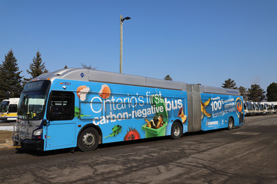 Hamilton Street Railway's first renewable natural gas powered bus in Ontario. (CNW Group/Enbridge Gas Inc.)