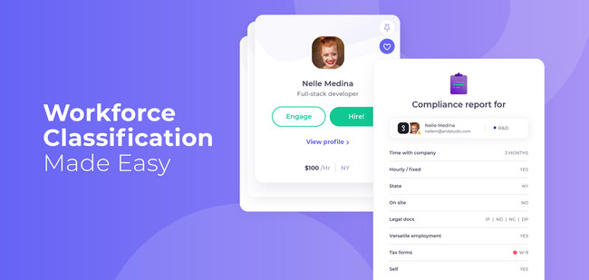 Stoke Talent leverages AI to analyze your relationship with contractors and freelancers based on thousands of past classification cases. The workforce classification engine analyzes your workers classification automatically and continuously