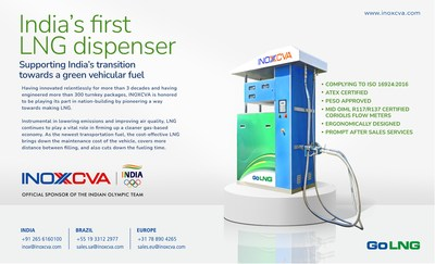 INOXCVA announced indigenously designed, developed and manufactured India's first ever LNG Dispenser