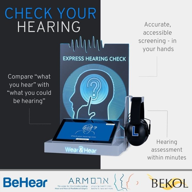 The A.R.M. Medical Center and Bekol, the organization representing the hard of hearing in Israel, are raising hearing health awareness and accessibility by leveraging BeHear's innovative kiosks for self-administered hearing checks. (PRNewsfoto/Alango Technologies)