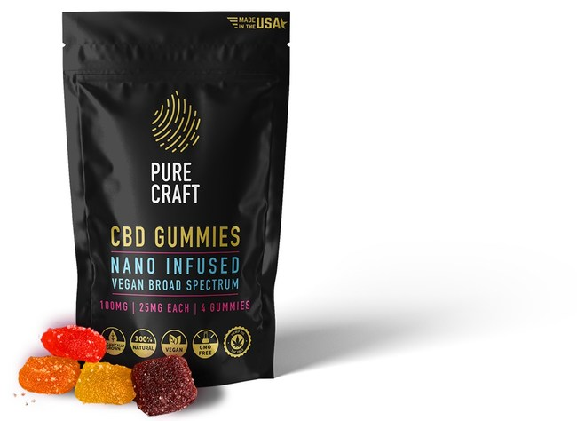 Pure Craft CBD Nano Infused Vegan Broad Spectrum 4-Count Gummies