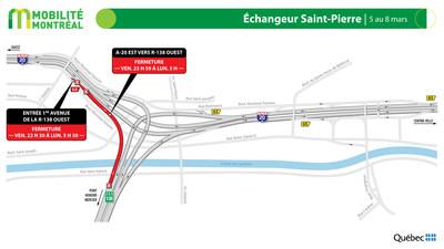Échangeur Saint-Pierre (A20/R138), fin de semaine du 5 mars (Groupe CNW/Ministère des Transports)