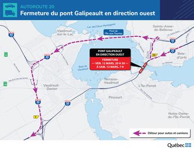 Détour à prévoir lors de la fermeture complète de l'autoroute 20 en direction ouest (Groupe CNW/Ministère des Transports)