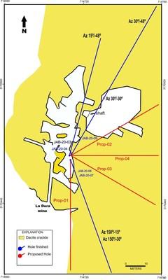 La Dura Mine U/G Drill Holes (CNW Group/Tarachi Gold Corp.)