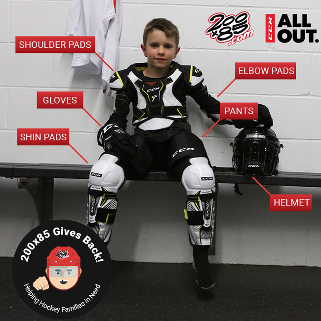 200x85 will select five families from across the nation and provide head-to- ankle equipment including pads, gloves, helmets and pants. To get involved, submit a video explaining why a friend or teammate deserves to receive new hockey gear. 200x85 will select the most compelling stories and donate equipment from CCM Hockey.