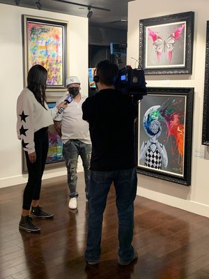 Miami artist Kre8 is interviewed at the Park West Fine Art Museum in Las Vegas. The artist sold out every auction during Park West's collectors weekend in February.
