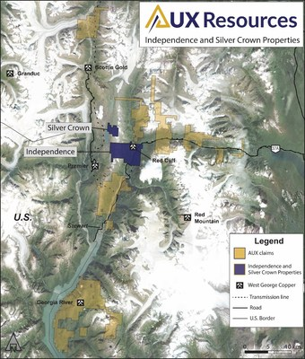 Figure 1. Location of Independence and Silver Crown. (CNW Group/AUX Resources Corporation)