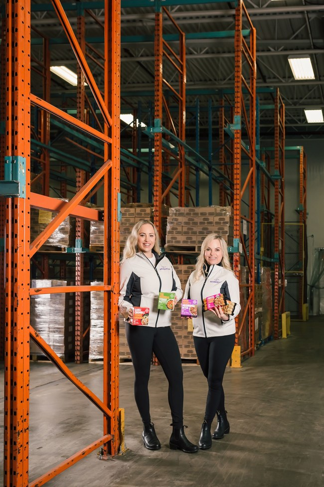 Kimberly Chamberland (right), CEO, and Jasmine Chamberland (left), President of Big Mountain Foods in their new 70,000 square foot facility that opened in February 2021. (CNW Group/Big Mountain Foods)