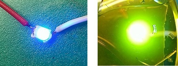 Blue LED (left), White LED with Graphene Quantum Dot + Silica Composite Material (right)