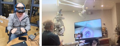 Left: Dr. Gilad Litvin performing the training from Israel, using RSVP; Right: Dr. David Rootman performing the surgery with ease from Canada, using the RSVP