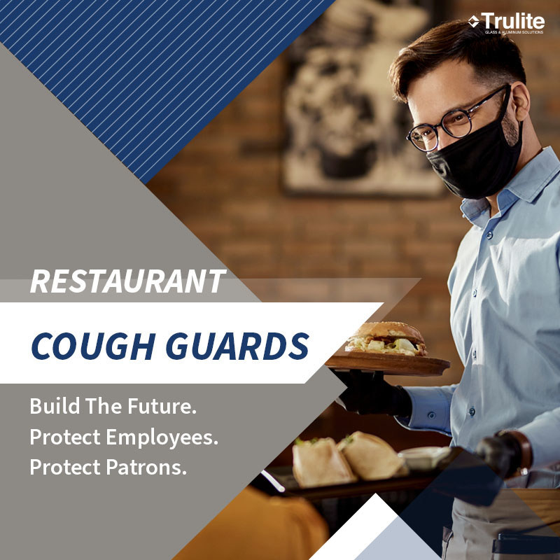 Glass cough guards for restaurants, hotels, and retail stores. Order online at www.trulite.com.