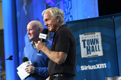Greg Norman (right) will be the lead analyst and Brian Katrek (left) will be the play-by-play announcer for SiriusXM's exclusive audio broadcasts of the Masters Tournament this April. (credit: Gerardo Mora/Getty Images for SiriusXM)