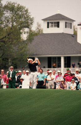Greg Norman competing in the Masters in 1988.  Norman will be the lead analyst for SiriusXM's exclusive play-by-play audio broadcasts of the Masters Tournament this April. (courtesy of Augusta National)