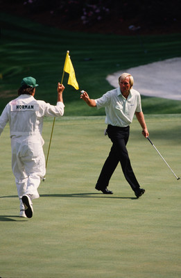 Greg Norman at the 1988 Masters.  Norman will be the lead analyst for SiriusXM's exclusive play-by-play audio broadcasts of the Masters Tournament this April. (courtesy of Augusta National)