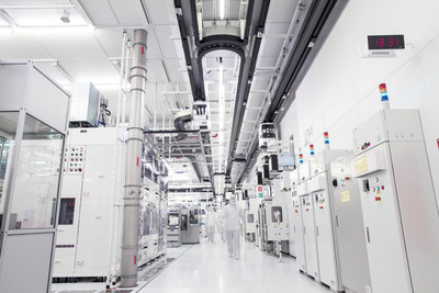 Inside the cleanroom at GLOBALFOUNDRIES' Fab 1 semiconductor manufacturing facility in Dresden, Germany.