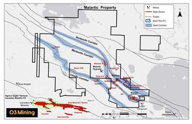 Figure 1 : Carte de la propriété Malartic (Groupe CNW/O3 Mining Inc.)