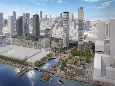An artistic rendering of one possible vision of what the fully developed Quayside could look like. Quayside will be a dynamic, inclusive and resilient community that plays a pivotal role in reorienting the city of Toronto towards Lake Ontario. Rendering by Standard Practice.