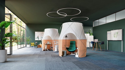 In collaboration with a world-class tent maker, Steelcase designed Work Tents as a collection of novel privacy solutions to limit visual distractions and help people be more productive, but not isolated. Inspired by tents and designed for the office, Work Tents are rooted in the human desire to seek shelter and protection from natural elements. From simple screens to small enclosures, Work Tents utilize tensile building techniques that pair light and airy organic shapes with tent-like and sheer