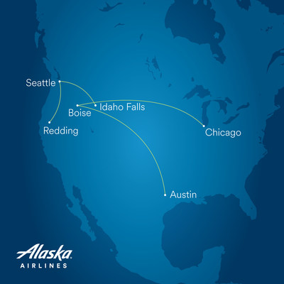 Alaska is adding new flights from Boise to Chicago and Austin, and from Seattle to Idaho Falls and Redding, California.