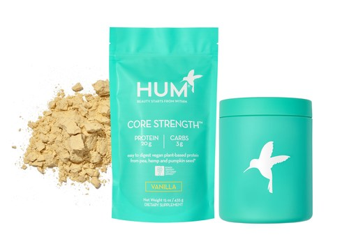 CORE STRENGTH™ vegan low FODMAP certified protein powder by HUM Nutrition. CORE STRENGTH™ is made from pea, hemp and pumpkin seeds, providing all 22 amino acids and 20g of protein per serving. It is enhanced with a natural digestive blend of flaxseed, enzymes and probiotics making it easy to digest and non-bloating.