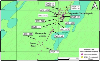 Figure 1: Greywacke Lake Property Drill Hole Locations (Historical and 2021) (CNW Group/MAS Gold Corp)