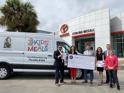 Sterling McCall Toyota and TrueCar Donation to Kids Meals (Houston, Texas). From left to right: Shahid Usami - General Sales Manager at Sterling McCall Toyota, Vali Bishop - TrueCar, David Mello - General Manager at Sterling McCall Toyota, Cherie Spaccini - ISD, John Lukehart - Market Director at Group1, Beth Harp - Executive Director at Kids Meals.