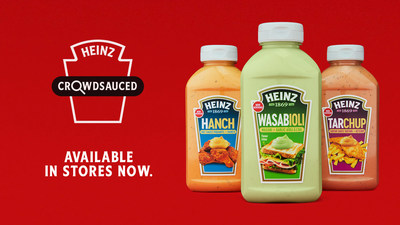 Heinz is releasing three new sauce creations inspired by Canadians: Heinz Tarchup, Wasabioli and Hanch. (CNW Group/Kraft Heinz Canada)