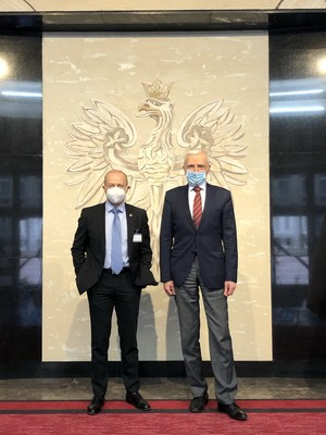Westinghouse President and Chief Executive Officer Patrick Fragman and Poland's Secretary of State in the Chancellery of the Prime Minister and Plenipotentiary for Strategic Energy Infrastructure Piotr Naimski meet on March 15, 2021 in Warsaw.