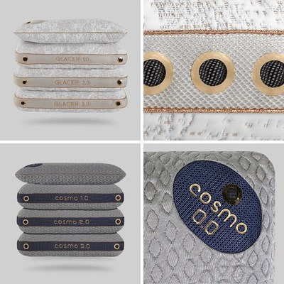 BEDGEAR's Cosmo and Glacier pillow collections. These pillow collections are the first of BEDGEAR's Performance pillows to showcase the brand's patented air vent design that maximizes breathability with cross-ventilation.